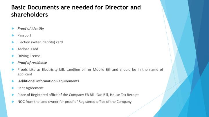 Basic Documents are needed for Director and shareholders