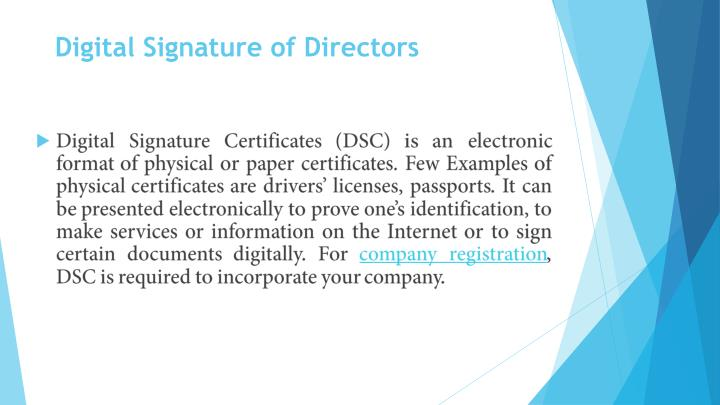 Digital Signature of Directors