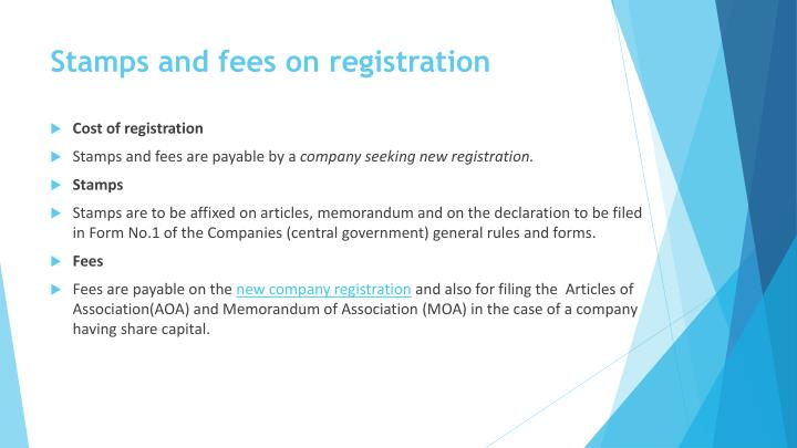 Stamps and fees on registration