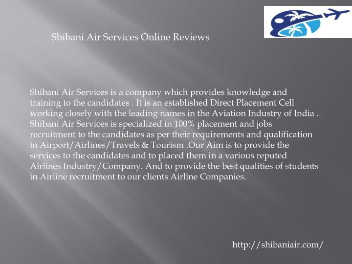 Shibani Air Services Online