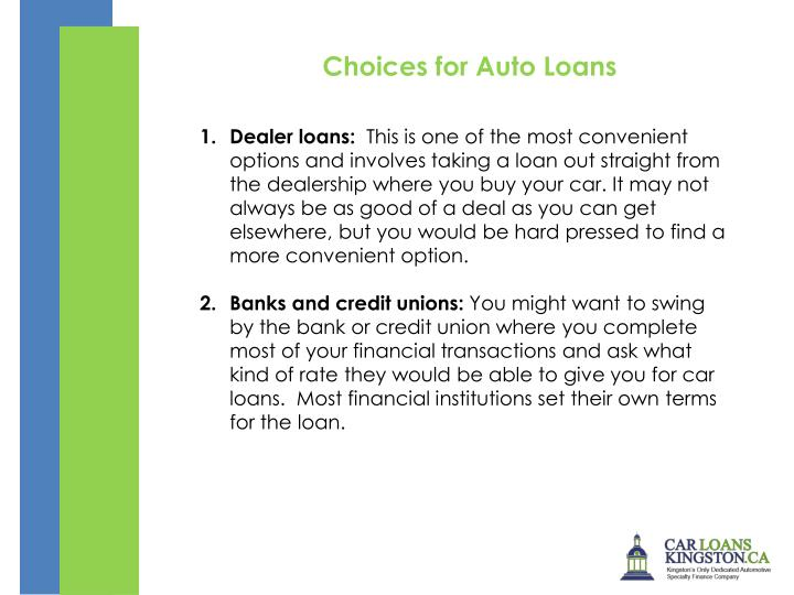 Choices for Auto Loans