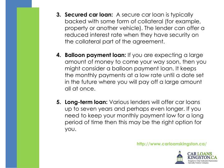 Secured car loan: