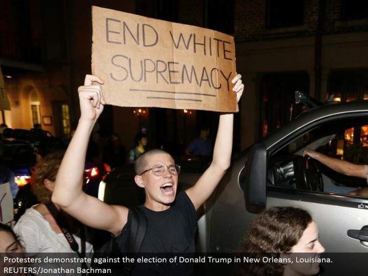 Protesters exhibit against the decision of Donald Trump in New Orleans, Louisiana. REUTERS/Jonathan Bachman
