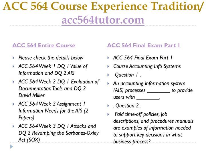 ACC 564 Course