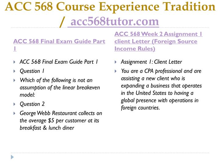 Acc 568 course experience tradition acc568tutor com1