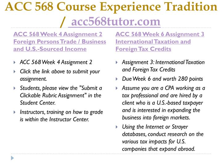 Acc 568 course experience tradition acc568tutor com2