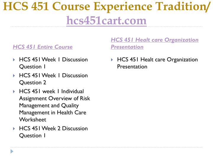 Hcs 451 course experience tradition hcs451cart com1