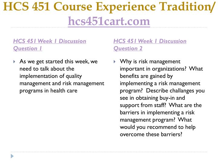 Hcs 451 course experience tradition hcs451cart com2