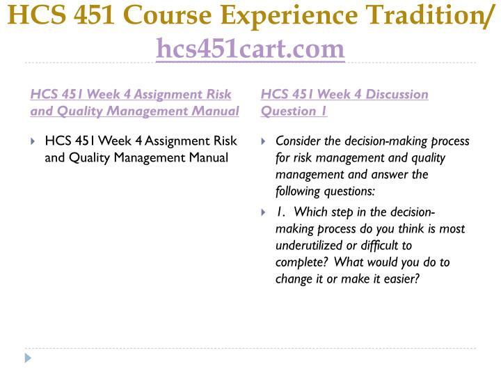 HCS 451 Course