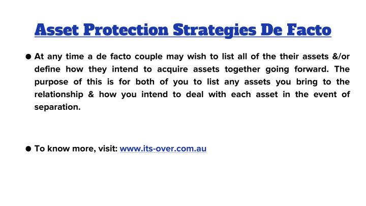 Asset Protection Strategies De Facto