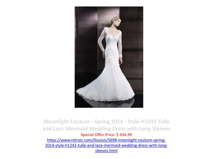 Moonlight Couture - Spring 2014 - Style H1242 Tulle and Lace Mermaid Wedding Dress with Long Sleeves