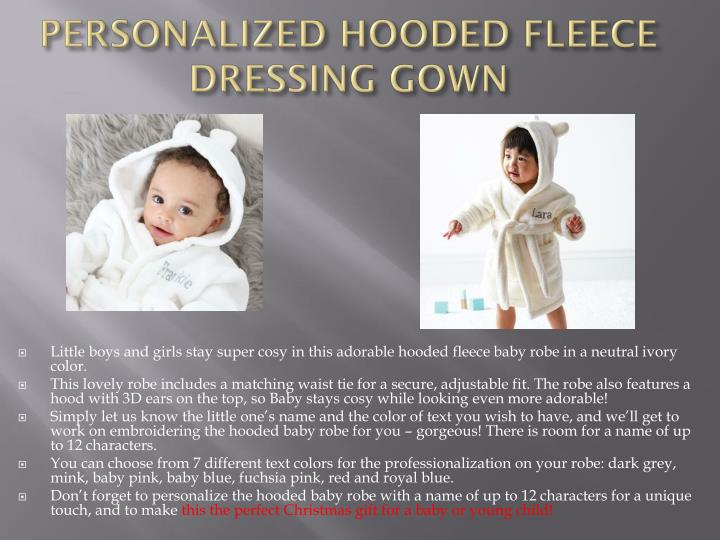 PERSONALIZED HOODED FLEECE DRESSING GOWN