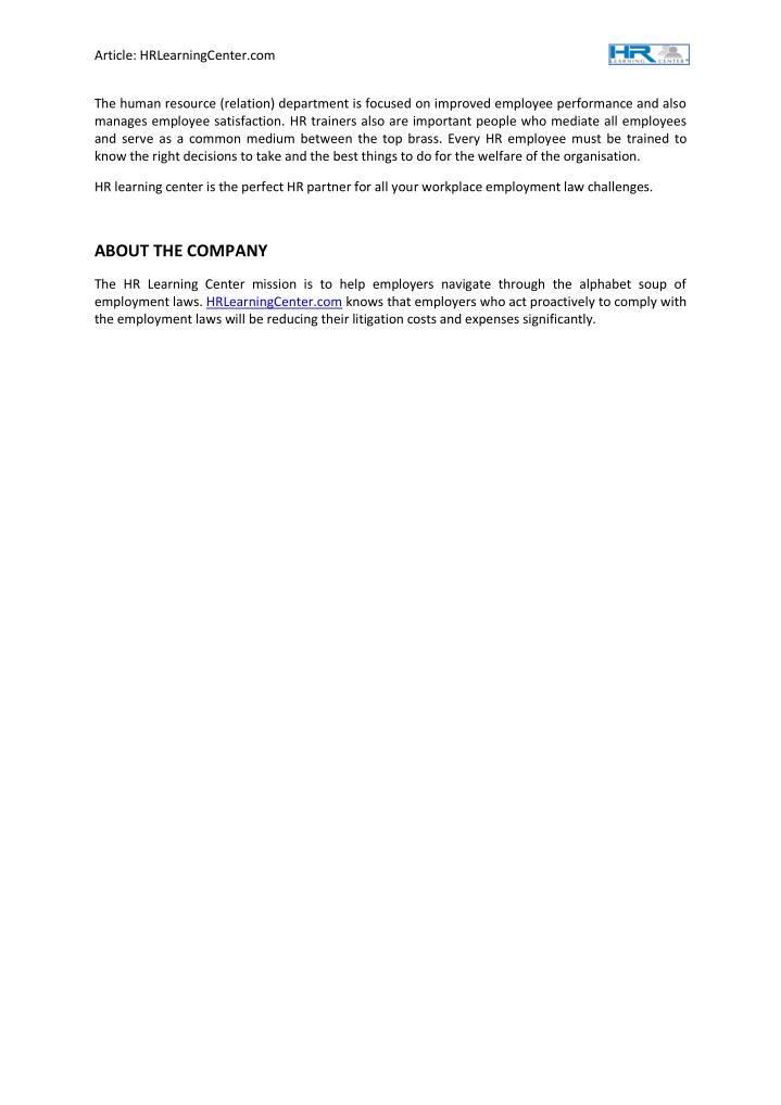 Article: HRLearningCenter.com