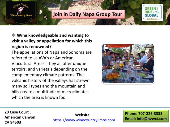 join in Daily Napa Group Tour