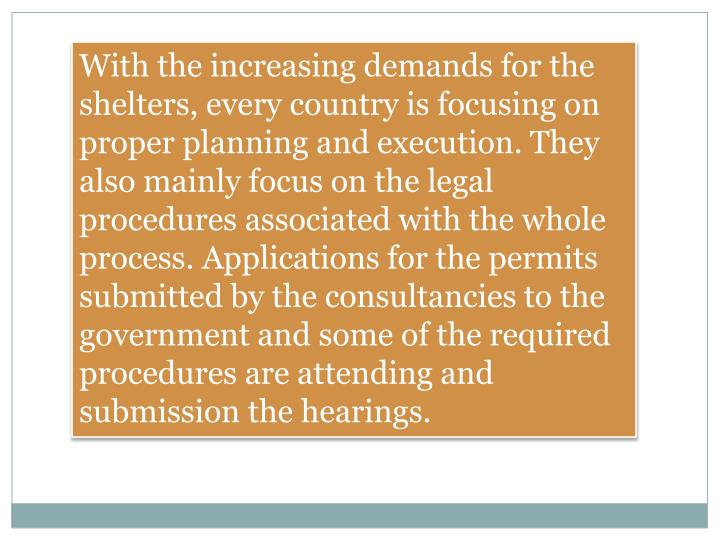 With the increasing demands for the shelters, every country is focusing on proper planning and execu...