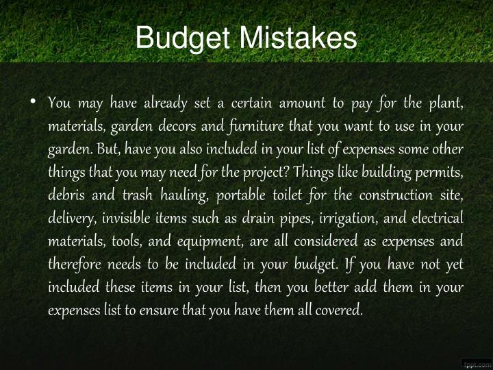 Budget Mistakes