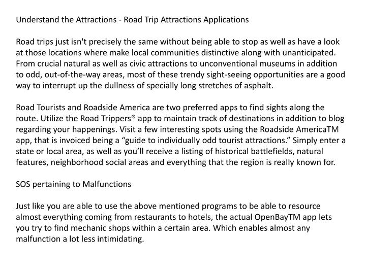 Understand the Attractions - Road Trip Attractions Applications
