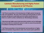 cytotoxic manufacturing and highly potent compound at vxp pharma