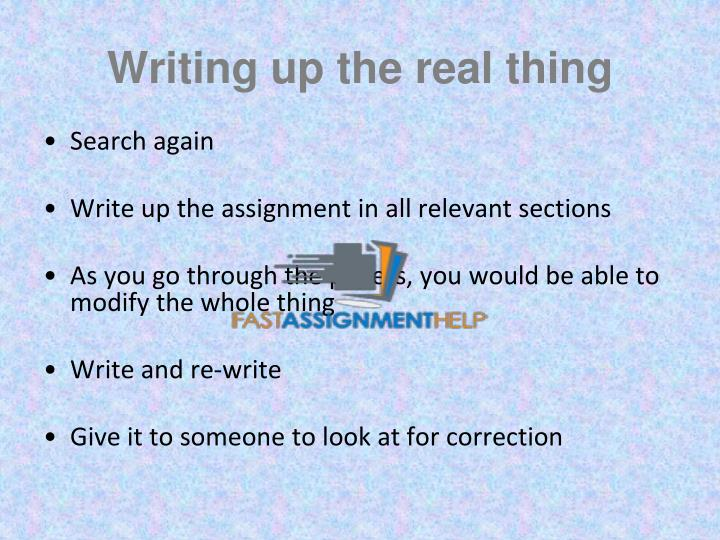 Writing up the real thing