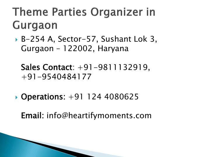 Theme Parties Organizer in
