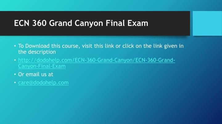 ECN 360 Grand Canyon Final Exam