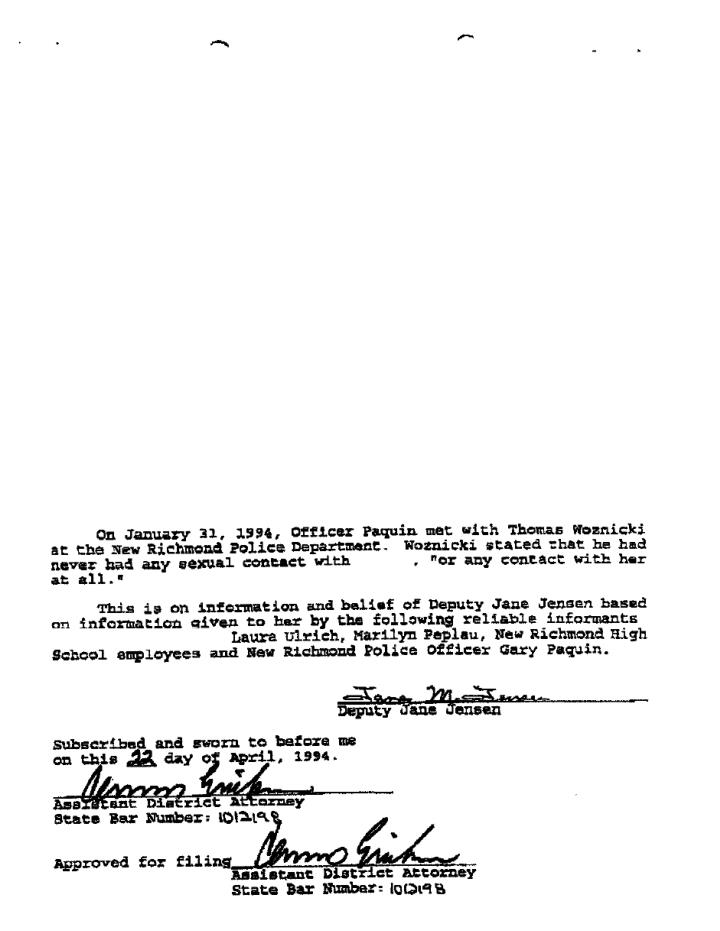 Thomas woznicki criminal complaint and summons st croix county wisconsin
