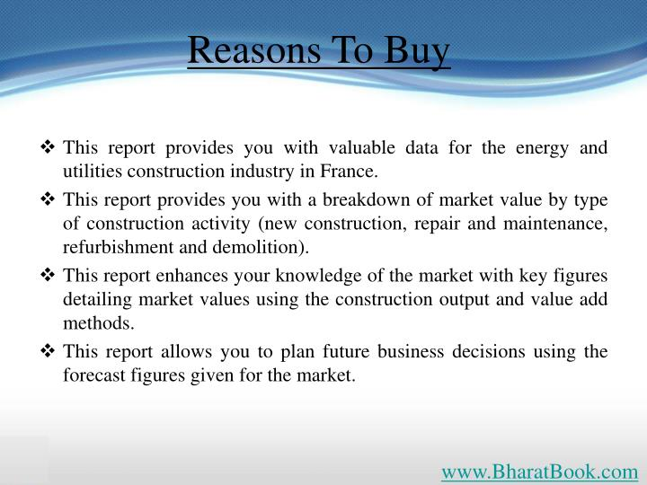 This report provides you with valuable data for the energy and utilities construction industry in France.