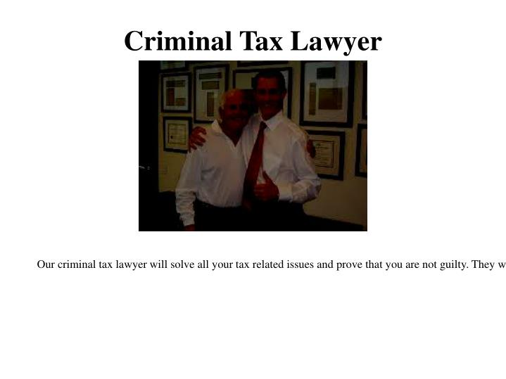 Criminal Tax Lawyer