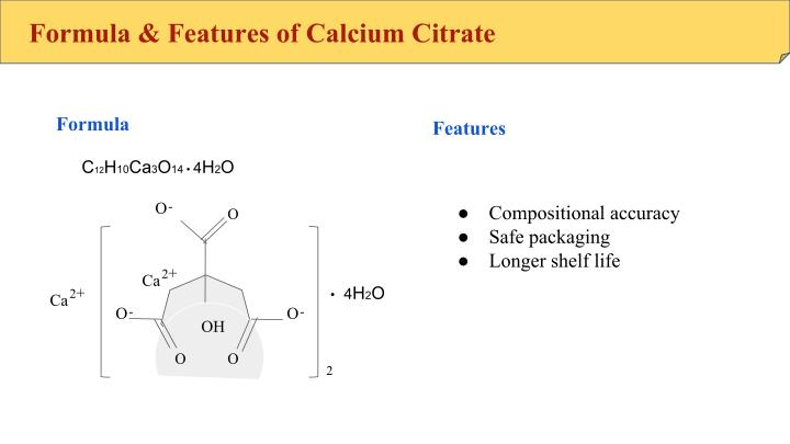 Formula & Features of Calcium Citrate
