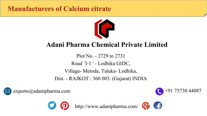 Manufacturers of Calcium citrate
