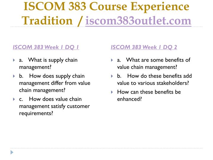 Iscom 383 course experience tradition iscom383outlet com2