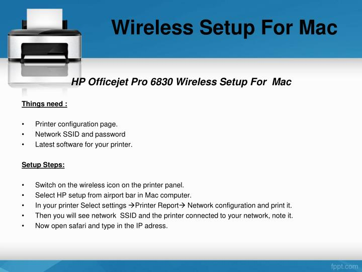 Wireless Setup For Mac