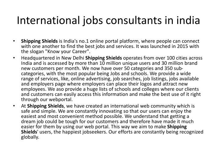International jobs consultants in india