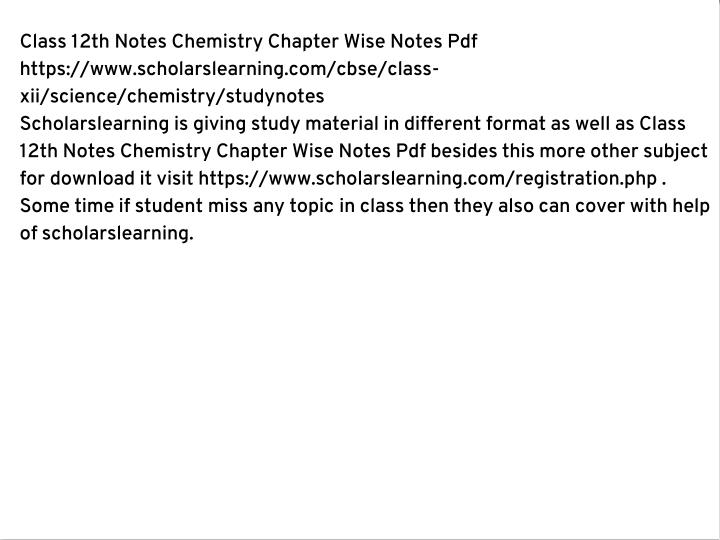 Class 12th Notes Chemistry Chapter Wise Notes Pdf
