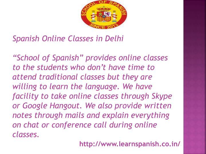 Spanish Online Classes in Delhi