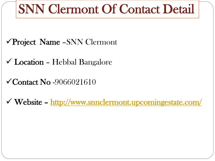 SNN Clermont Of Contact Detail