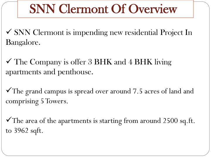 SNN Clermont Of Overview