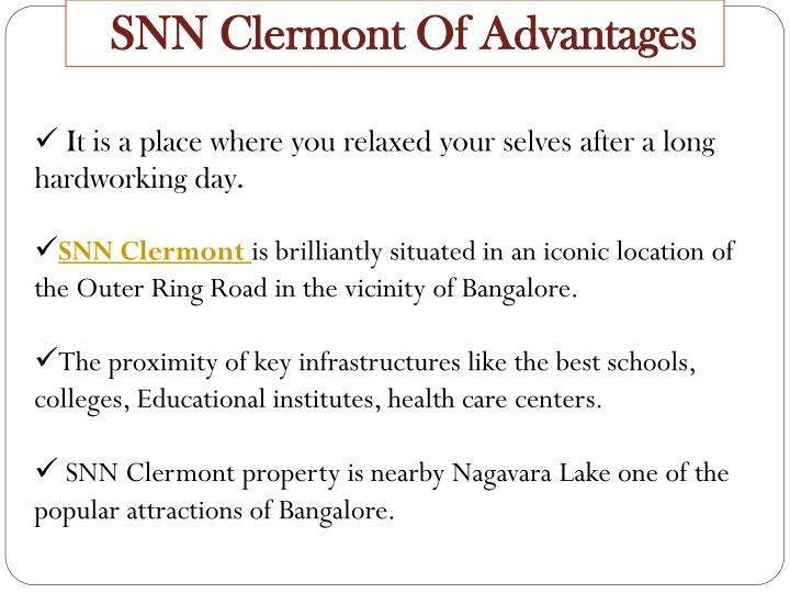 SNN Clermont Of Advantages