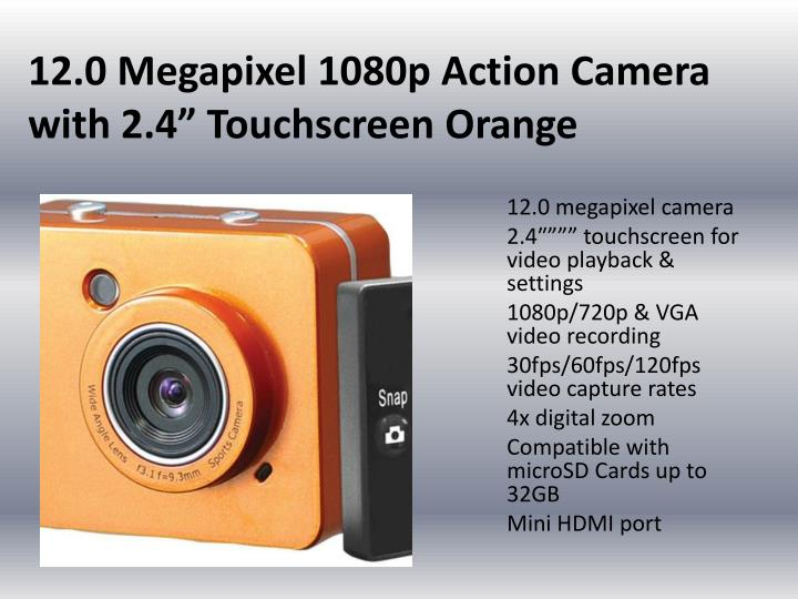 12 0 megapixel 1080p action camera with 2 4 touchscreen orange