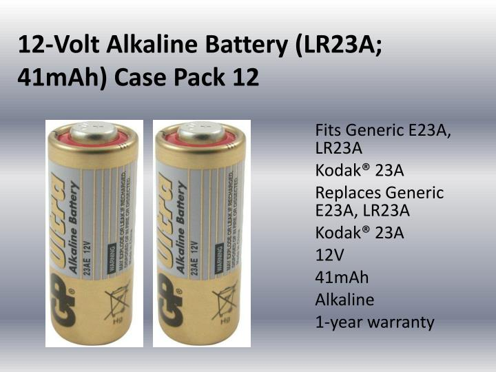 12 volt alkaline battery lr23a 41mah case pack 12