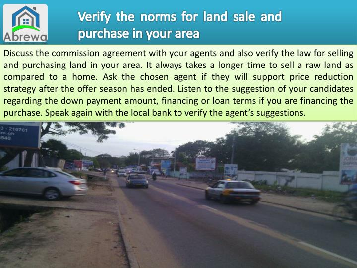 Verify the norms for land sale and purchase in your area