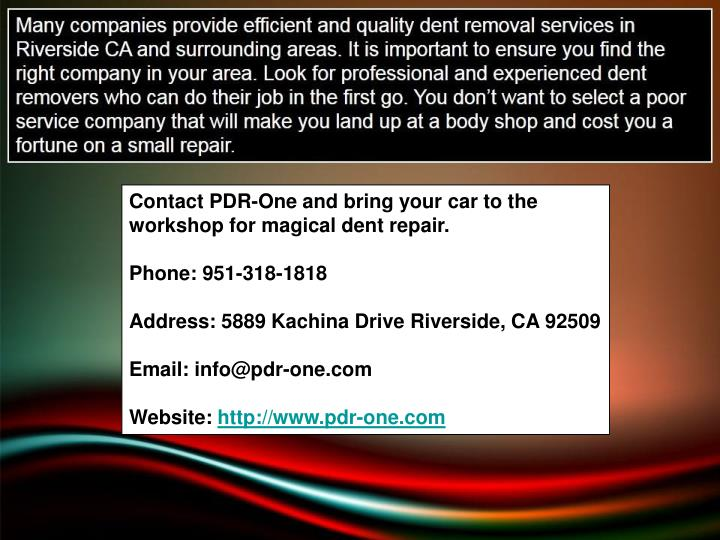 Contact PDR-One and bring your car to the workshop for magical dent repair.
