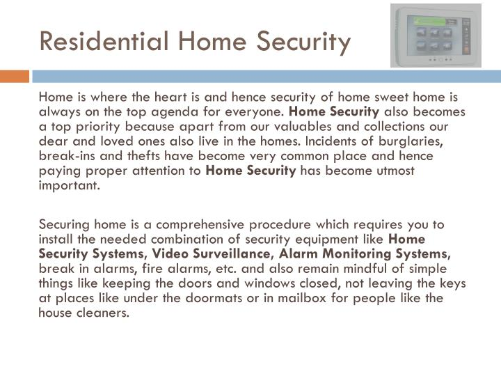 Residential Home Security
