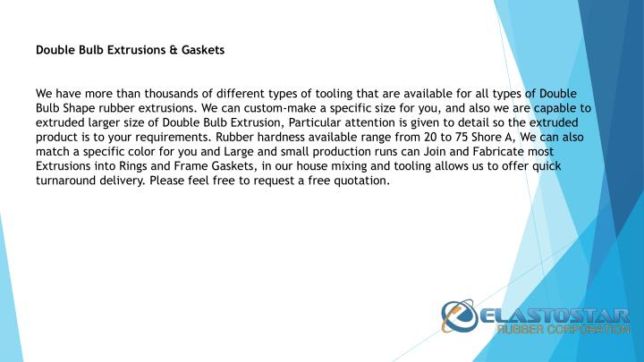 Double Bulb Extrusions & Gaskets