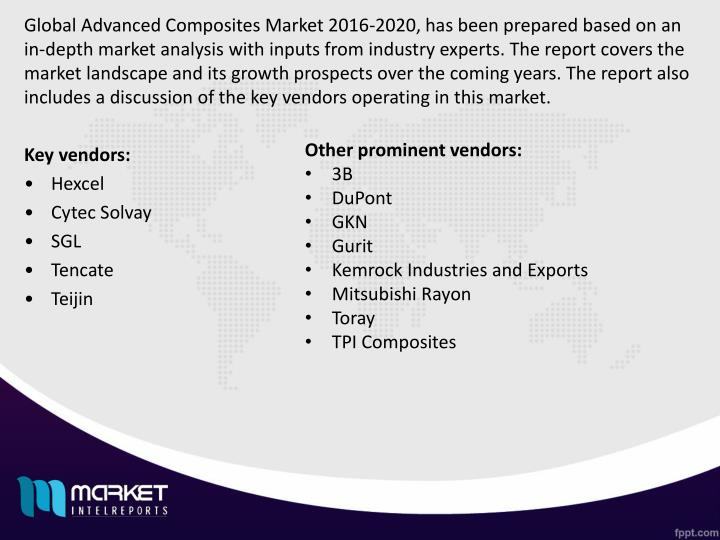 Global Advanced Composites Market 2016-2020, has been prepared based on an in-depth market analysis with inputs from industry experts. The report covers the market landscape and its growth prospects over the coming years. The report also includes a discussion of the key vendors operating in this market.