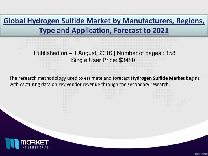 Global Hydrogen Sulfide Market by Manufacturers, Regions, Type and Application, Forecast to 2021