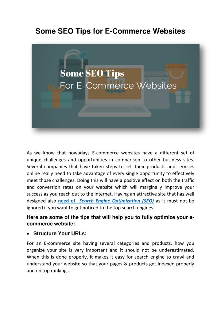 Some SEO Tips for E-Commerce Websites