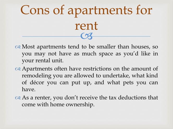 Cons of apartments for