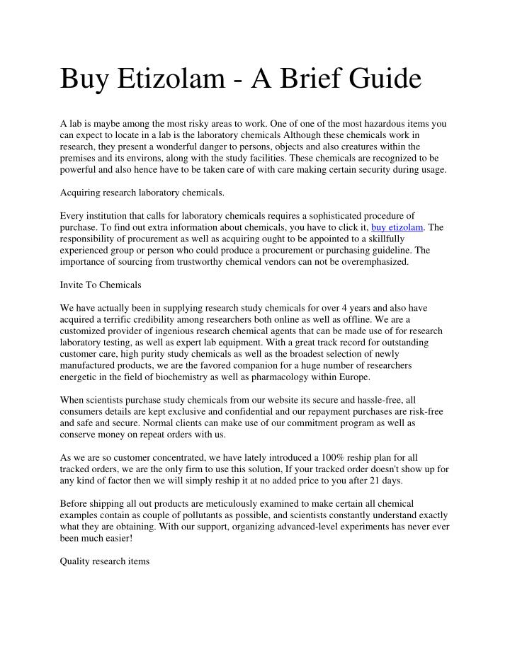 Buy Etizolam - A Brief Guide