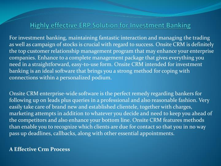 Highly effective ERP Solution for Investment Banking